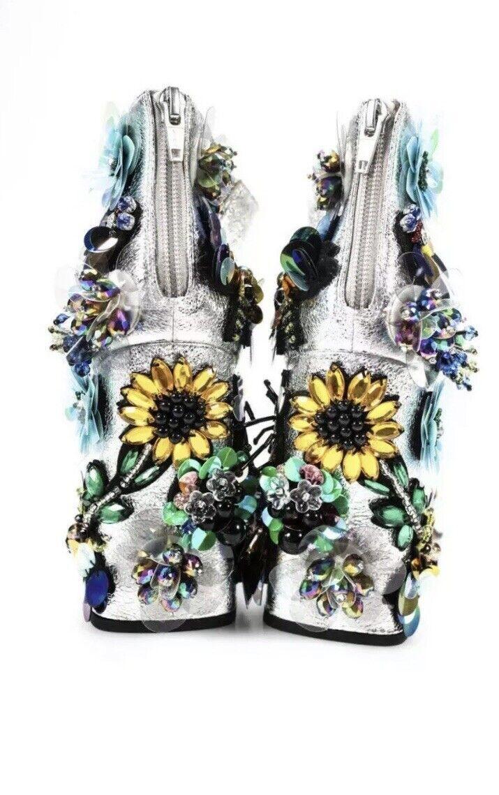 ASOS chaussures Femme Floral Applique Bride Cheville Escarpins argent Métallique Taille USA 7