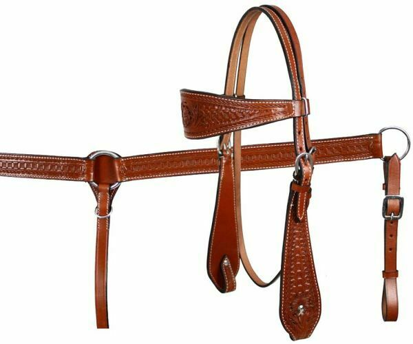 mostrareuomo MEDIUM OIL Leather Floral & Basket struuominitoed Bridle Breast collar Reins Set
