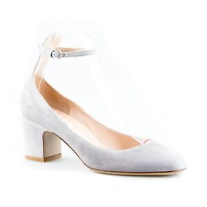 1b3064d2614 Image is loading Valentino-Light-Grey-Suede-Pumps-with-Ankle-Strap-