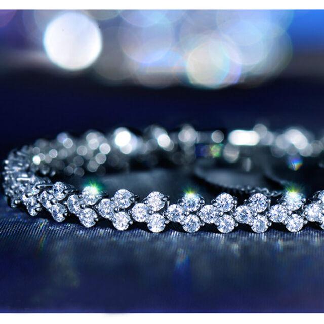 18k white gold gp simulated diamond roma lady chain bracelet