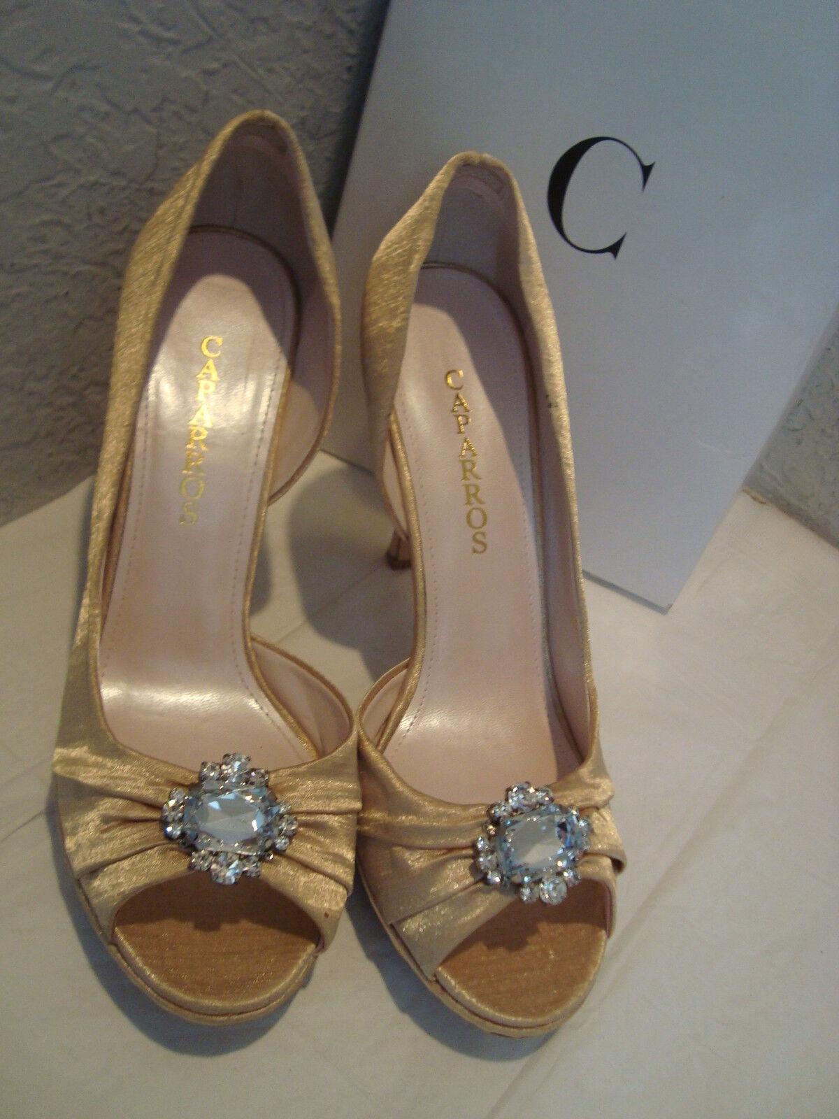NEU Caparros Damenschuhe Varda Satin Shimmer Light Gold Pumps Schuhes 10 Medium