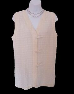 Cream-Sleeveless-Silk-Tunic-Size-M-6-8-Misses-Shirt-Long-Top-Toggle-Close-Plisse