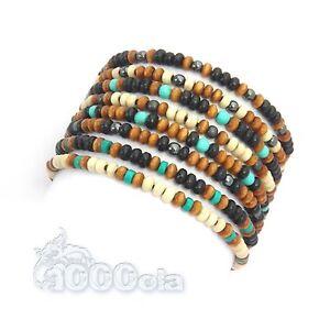 BRACELET-Perles-pierre-naturelle-de-Gemme-Howlite-Hematite-Turquoise-Bois