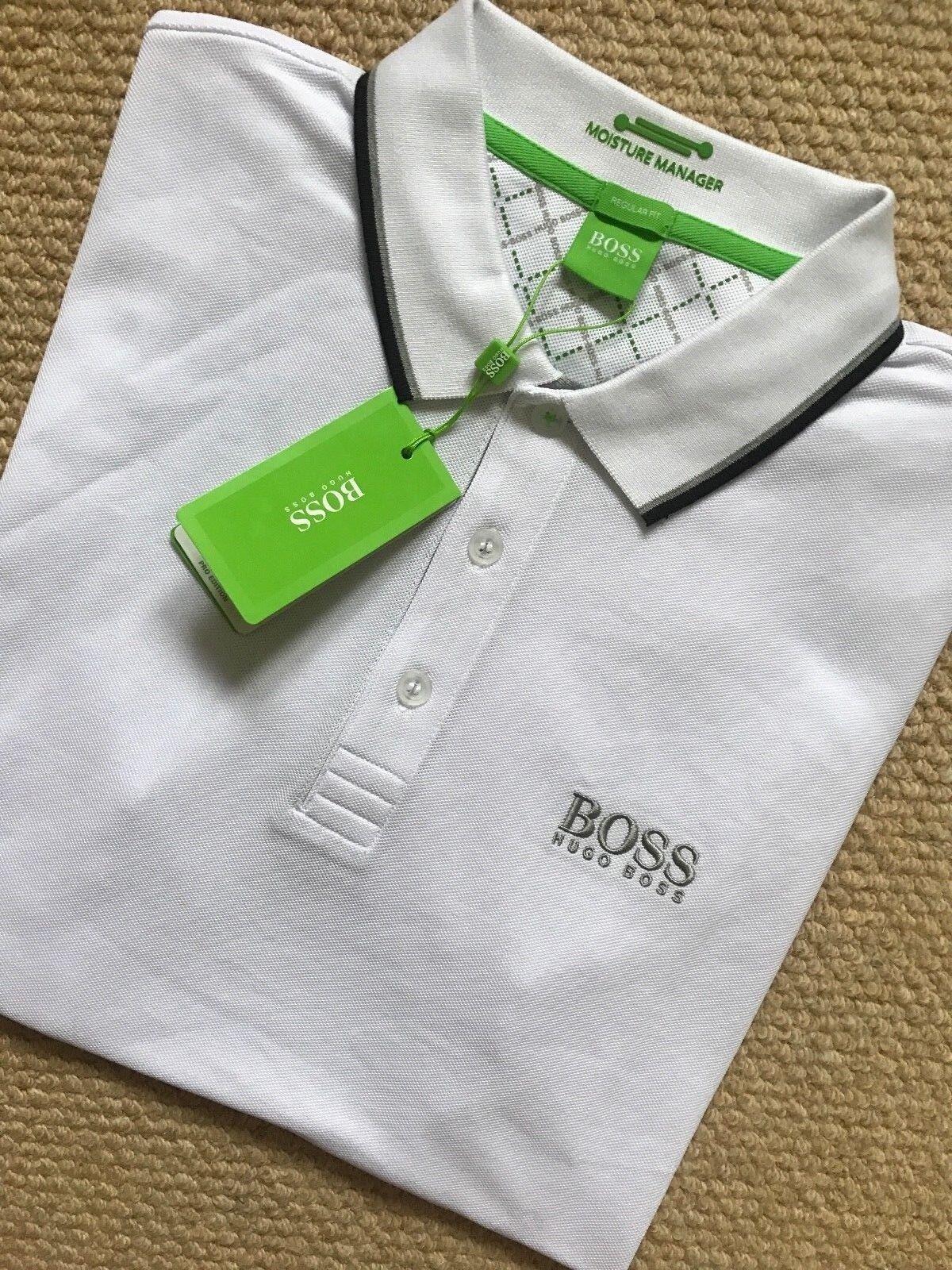 58b2d55e8 Hugo Boss Polo Shirt Peppo-pro White Mens Green Label Modern Fit 100 ...