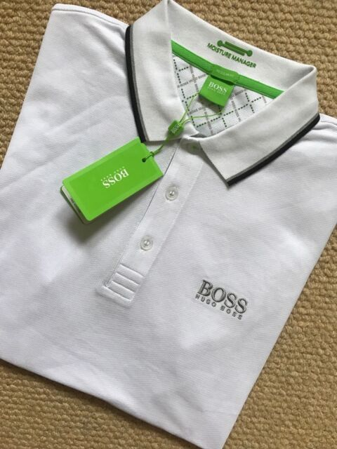 af3cd301 Hugo Boss Polo Shirt Peppo-pro White Mens Green Label Modern Fit 100 ...