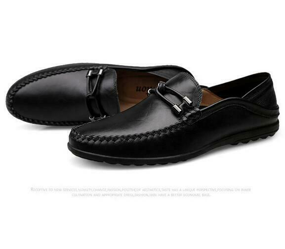 Mens Breathable Flat Slip On Casual Driving shoes Spring Black Moccasins Loafers