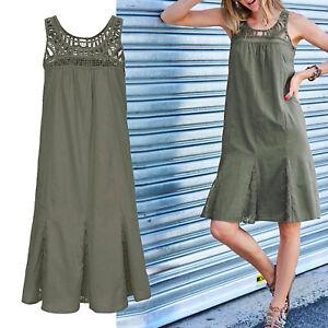 genial-luftiges-Sommerkleid-Gr-36-38-S-M-Khaki-Sommer-Kleid-100-Baumwolle