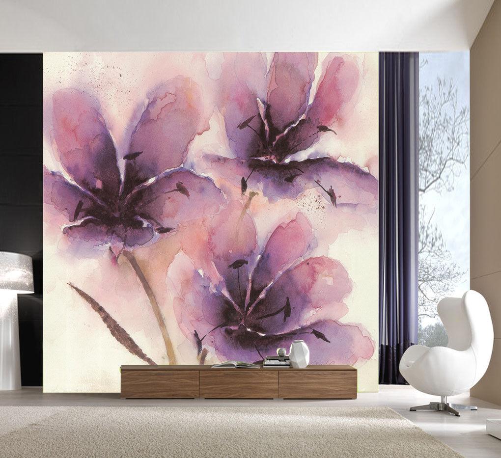 Papel Pintado Mural De Vellón purple Flores Pintura 3 Paisaje Fondo Pansize ES