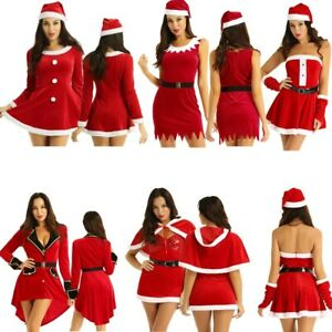 Women-Adult-Ladies-Santa-Claus-Dress-Christmas-Outfits-Costume-Halloween-Cosplay