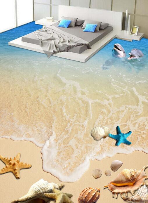 Onda 3D Papel de parojo de Piso Playa Conchas 84 Murales Parojo impresión AJ Wallpaper Reino Unido Limón