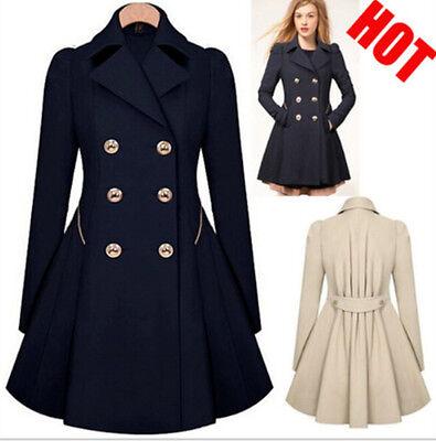 HOT Women Winter Cashmere Parka Long Trench Coat Trend Lapel Wool Outwear Jacket