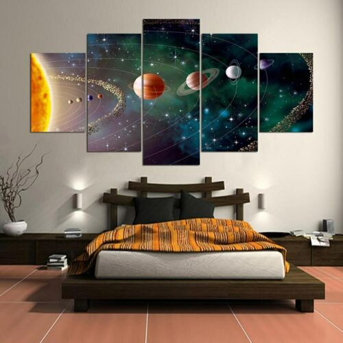 Solar System Painting 5pcs Canvas Print Space Planets Poster Wall Art Home Decor