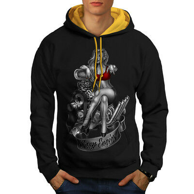 Engineer Girl Engine Sexy Men Contrast Hoodie New | Wellcoda