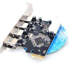 4 Port USB 3.0 HUB to PCI-e PCI Express Card Adapter VIA Chipset Internal