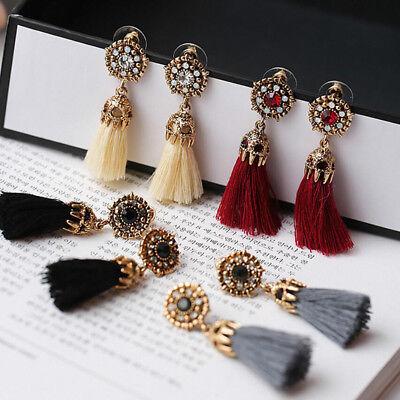 1 Pair Elegant Women Fashion Jewelry Rhinestone Ear Stud Earrings Crystal Tassel