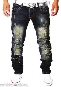 Zahida-Men-039-s-Jeans-Chino-Trousers-Cargo-Destroyed-Crack-Cracks-Clubwear-Blue-New-j3-2