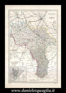 Cartina Lombardia Pavia.Pavia Vigevano Lombardia Carta Geografica Vallardi 1868 Ebay