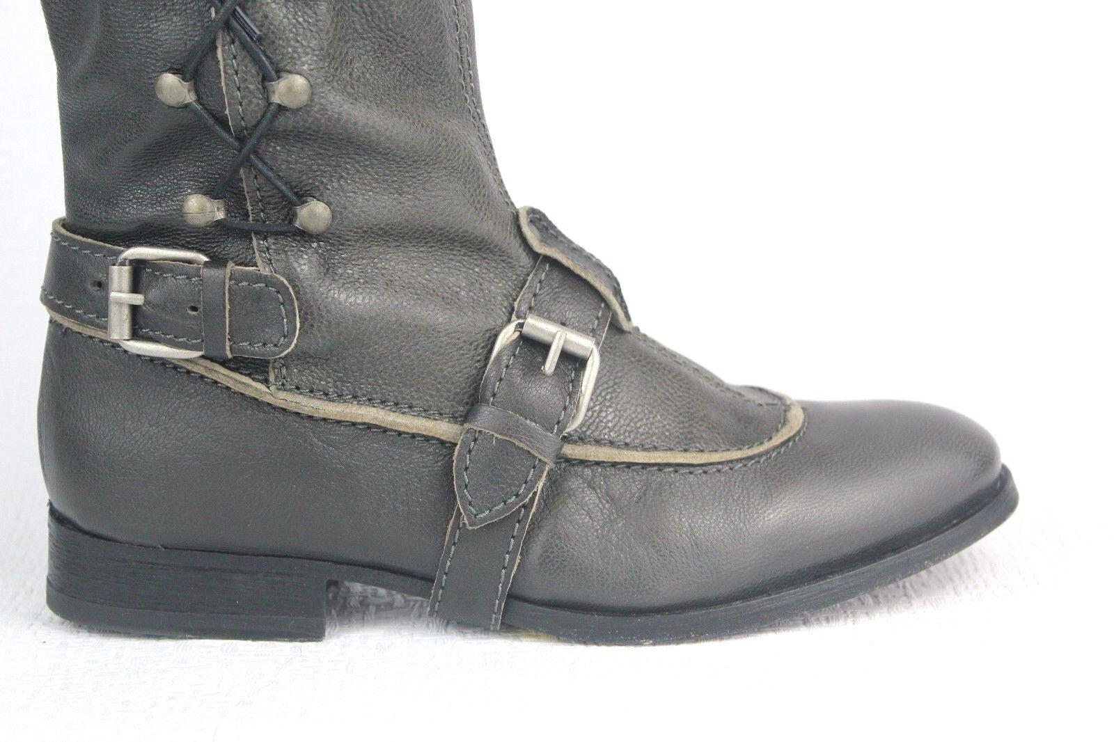 J.LITVACK Bleecker Motorcycle Womens Leather Grey Boots Size 38
