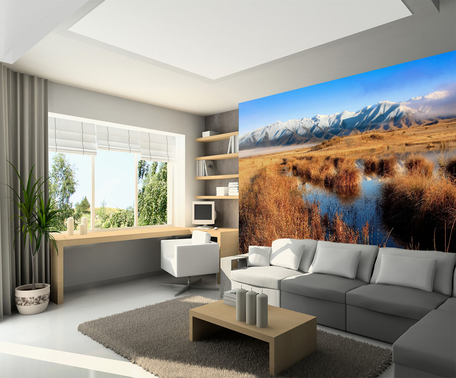 3D Marais Paysage 6 Photo Papier Peint en Autocollant Murale Plafond Chambre Art