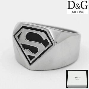 DG Men's Stainless-Steel Black Silver Superman Ring 8 9,10,11,12,13 Box