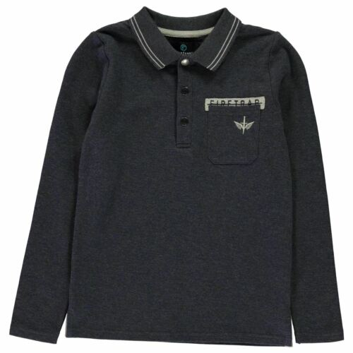 Firetrap Kids Boys Long Sleeve Polo Shirt Junior Top Cotton Zip Colour Block