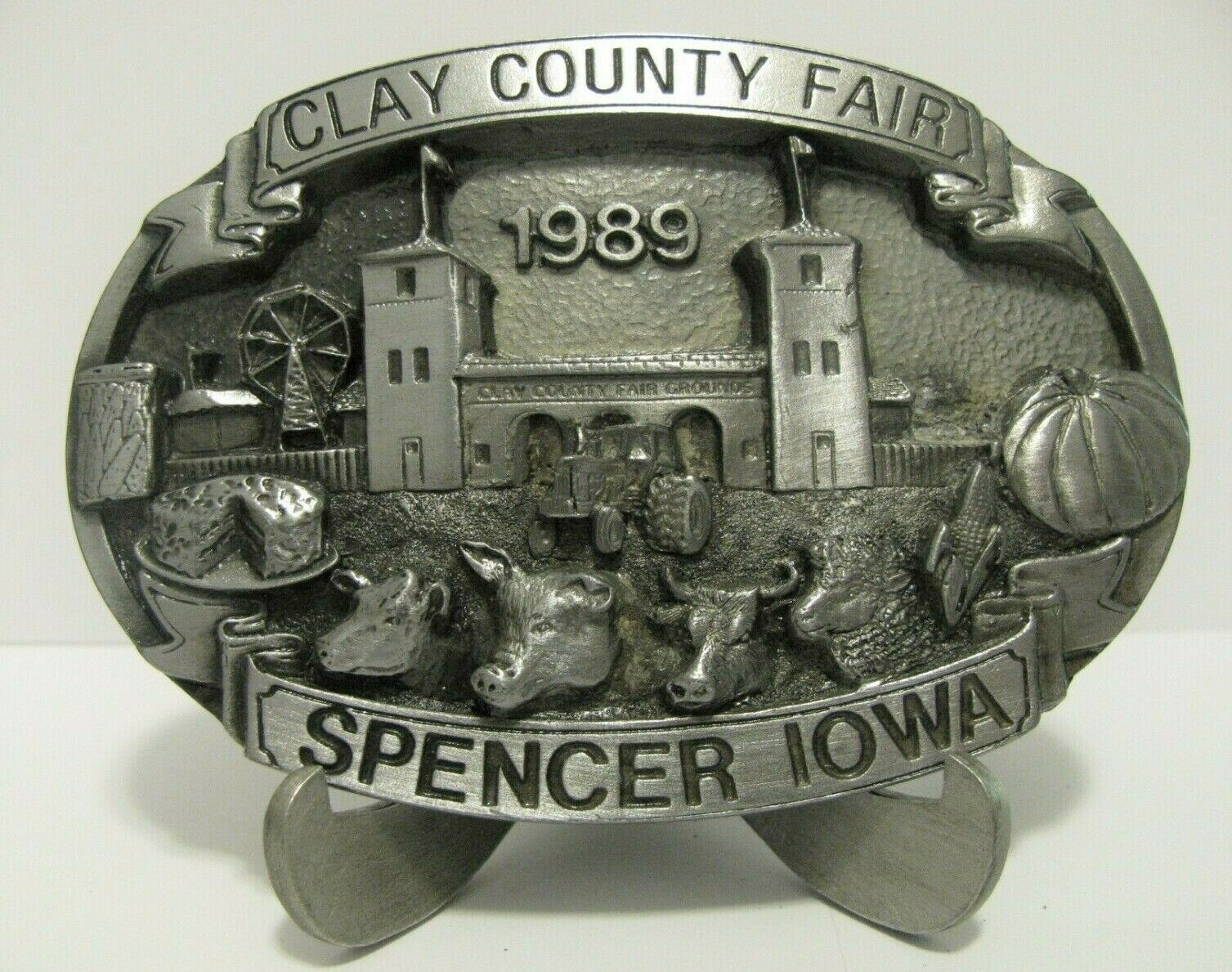 Clay County Fair Spencer Iowa 1989 Tractor Cow Pig Exhibitor Belt Buckle Ltd Ed