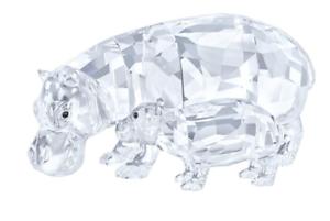 NIB-449-Swarovski-Crystal-Figurine-Hippo-Mother-with-Baby-Clear-Crystal-5135920