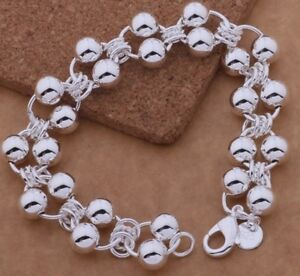 925-Sterling-Silver-Link-Chain-Beaded-Small-Baby-Child-5-034-Bracelet-D295