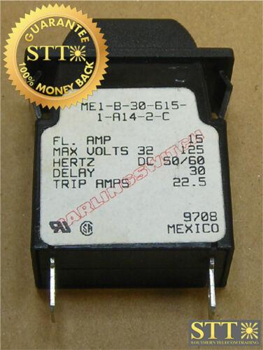 ME1-B-30-615-1-A14-2-C CARLING M-SERIES CIRCUIT BREAKER 15 AMP 125//32 VAC//VDC