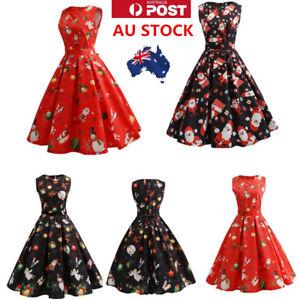 AU-Womens-50s-Christmas-Floral-Swing-Dress-Sleeveless-Short-Mini-Vintage-Dress