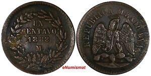 Mexico SECOND REPUBLIC Copper  1888/7 Mo 1 Centavo OVERDATE KM# 391.6