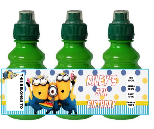 PERSONALISED Minion Despicable Me FRUIT SHOOT BOTTLE LABEL Party Bag Fillers