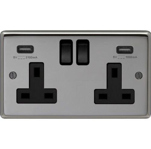 Nickel noir double prise 2 x points de chargement USB avec bordure noir