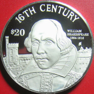 1997-COOK-ISLANDS-20-SILVER-PROOF-WILLIAM-SHAKESPEARE-ENGLISH-POET-WRITER-RARE
