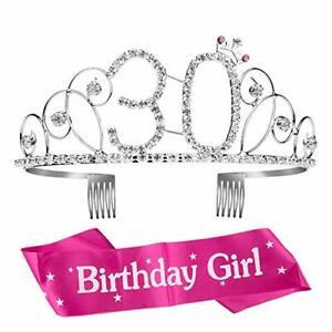 Geburtstags-Krone 30 Geburtstags Kristall Tiara Krone mit Geburtstags-Schärpe