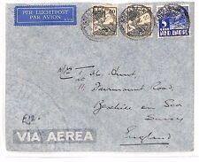BF202 1936 DUTCH EAST INDIES Soerabaja GB Sussex Airmail Cover