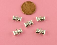 SMALL ANT SILVER PLATED BRASS WRAPPED BOW CONNECTOR W/2 RING - 6 PC(s)