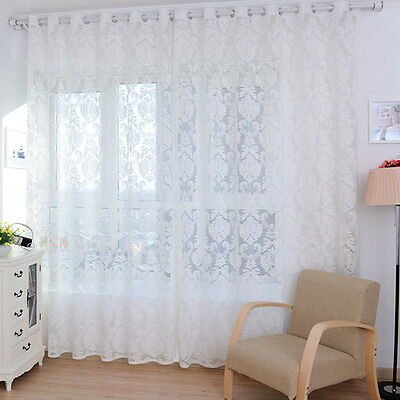 European style Tulle Door Window Curtain Drape Panel Sheer Scarf Valances GFY