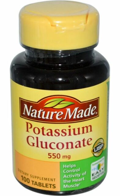 NEW NATURE MADE POTASSIUM GLUCONATE HEART MUSCLE ACTIVITY DAILY BODY SUPPLEMENT