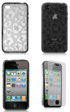 TPU Cyrstal Skin Smoke Leopard Prints Design For Apple iPhone 4 4S + Free Screen