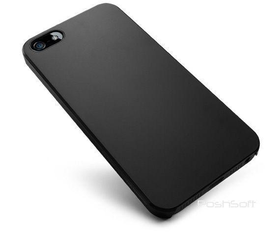 Black Ultra-Thin Matte Rubberized Slim Hard Cover Case for Apple iPhone 5S + SE