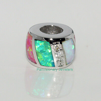 Opal Silver Charm for European Bracelet Green Pink White w CZ .925 Sterling Bead