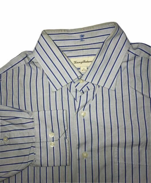Men's Tommy Bahama Button Down Dress Shirts Size 17 34-35 Striped Gray