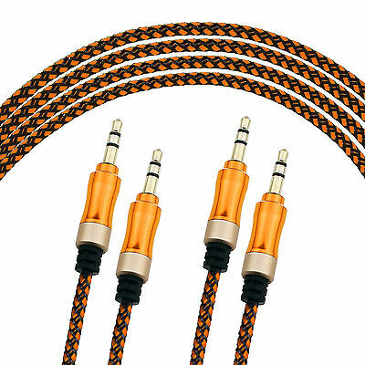 3FT 3.5mm AUX Male to Male Braided Stereo Audio Cable iphone headphone car AUX