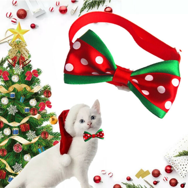 Christmas Pet Cat Dog Bowties Ties Holidays Spot Bow Tie Collar Groomings Bone.