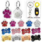 Glitter Paw Bone Personalized Custom Engraved Dog Tags Pet Cat Name ID Phone Tag