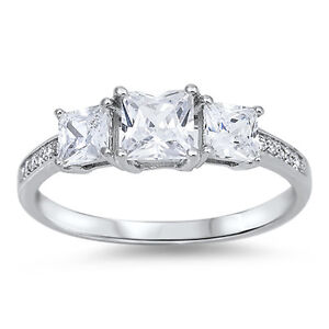 3 STONE PRINCESS CUT CZ ENGAGEMENT .925 Sterling Silver Ring SIZES 4-10