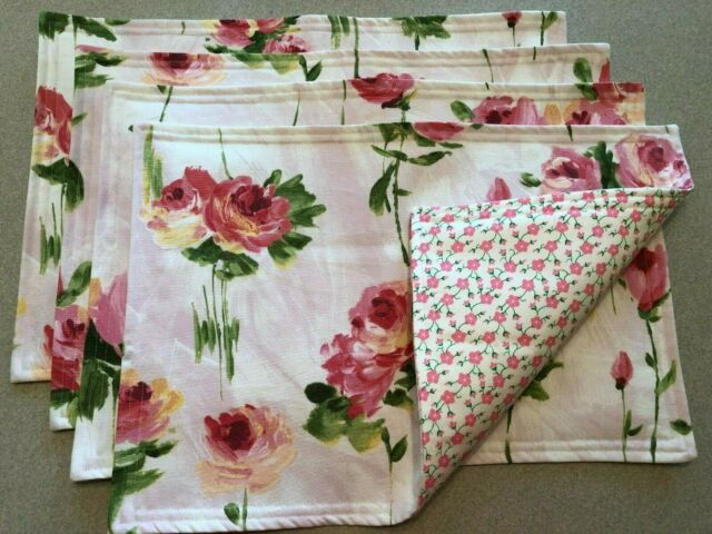 Tapestry Placemats Set of 4 Roses Pink Stripes Flowers