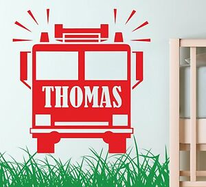 FIRE-TRUCK-personalised-WALL-ART-DECAL-FIREMAN-sticker-graphic-RESCUE-childrens
