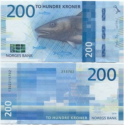 Norway 200 Kroner UNC Banknotes P-New 2016